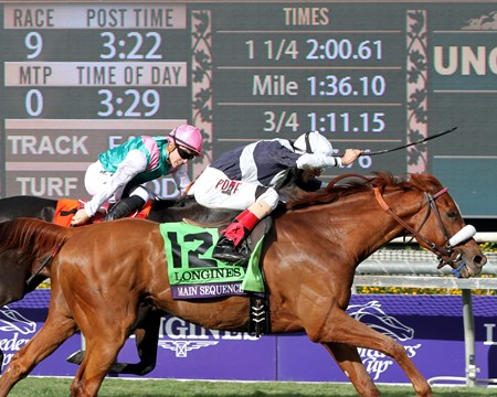 Main Sequence and jockey John Velazquez win the 2014 Breeders' Cup Turf (G1) at Santa Anita Park on November 1, 2014.
