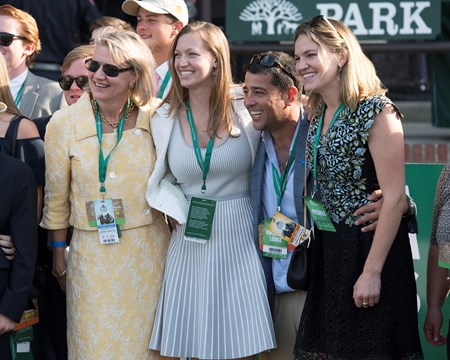 Staci Hancock, left, with daughters and Sol Kumin Ascend with Jose Ortiz wins the Woodford Reserve Manhattan (G1T) at Belmont Park  on June 10, 2017 in Elmont, New York.