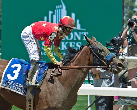 Abel Tasman with Mike Smith wins the Acorn Stakes (G1) at Belmont Park  on June 10, 2017 in Elmont, New York.