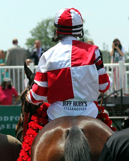 Songbird with Mike Smith after winning the 49th Running of the Ogden Phipps (GI) at Belmont Park on June 10, 2017.