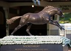 Secretariat statue at Belmont Park.