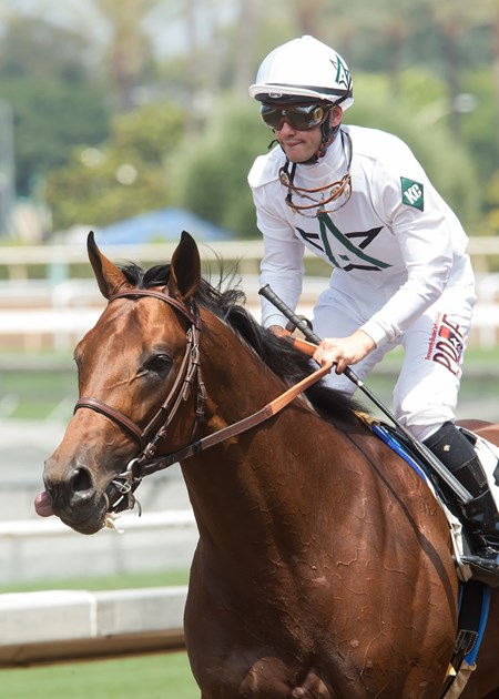 Battle of Midway and jockey Flavien Prat win the G3, $100,000 Affirmed Stakes, Saturday, June 24, 2017 at Santa Anita Park, Arcadia CA.