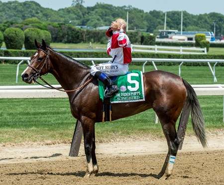 Songbird with jockey Mike Smith aboard wins the 49th running of The Ogden Phipps over Paid Up Subscriber with Javier Castellano up at Belmont Park June 10, 2017 in Elmont, N.Y.