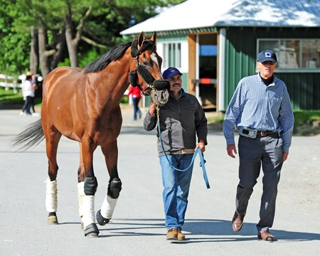 Gormley, accompanied by trainer John Shirreffs, arrives at Belmont Wednesday afternoon