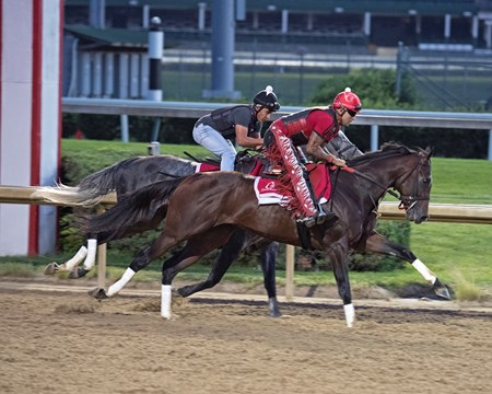 Classic Empire's final work before the Belmont Stakes, working in company with Airoforce. June 2, 2017 Churchill in Louisville, Kentucky.