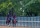 Lookin At Lee prepping for the Belmont Stakes at Belmont Park