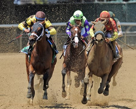 Abel Tasman (red) Mike Smith up, on her way to winning the G1 Acorn
