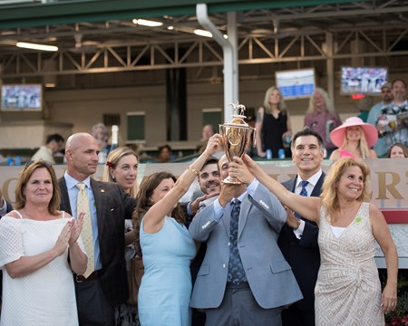 Derby owners celebrate, Always Dreaming, Bonomo holding trophy