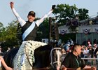 Jose Ortiz celebrates winning the Belmont Stakes aboard Tapwrit