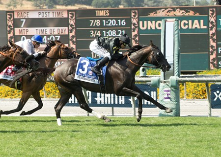 Calumet Farm's Bal a Bali and jockey Mike Smith, right, outleg Heart to Heart (Julien Leparoux), left, to win the Grade I, $400,000 Shoemaker Mile, Saturday, June 3, 2017 at Santa Anita Park, Arcadia CA.