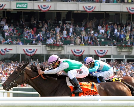 Antonoe with Javier Castellano win the 24th Running of the Just A Game (GI) at Belmont Park on June 10, 2017.