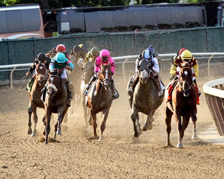 The final turn of the 149th Running of the Belmont Stakes at Belmont Park on June 10, 2017. Photo By: Chad B. Harmon