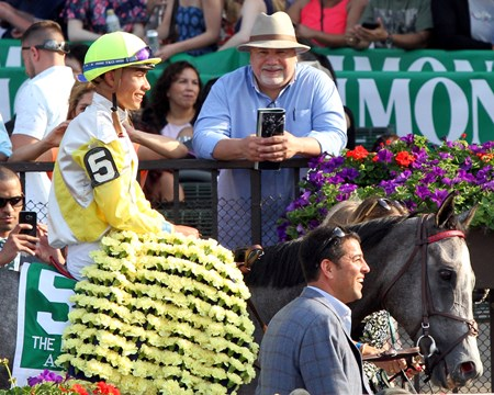 Ascend with Jose Ortiz and Sal Kumin head into the winners circle after the 116th Running of the Manhattan (G1T) at Belmont Park on June 10, 2017.