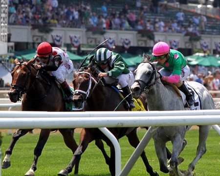 Disco Partner (right) with Irad Ortiz Jr. win the 34th Running of the Jaipur Invitational (GIII) at Belmont Park on June 10, 2017 over Green Mask (center) with Javier Castellano and Holding Gold (left) with John Velazquez in track record time of 1:05.67.