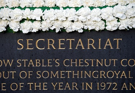 Secretariat statue at Belmont Park on June 8, 2017
