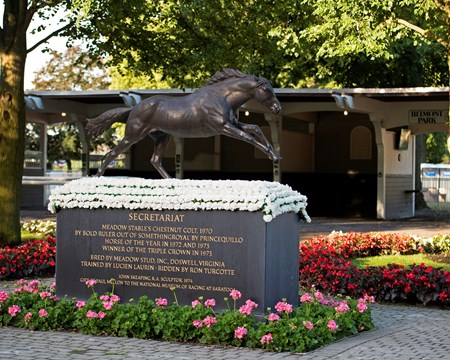 Secretariat statue on June 8, 2017 at Belmont in Elmont, New York.