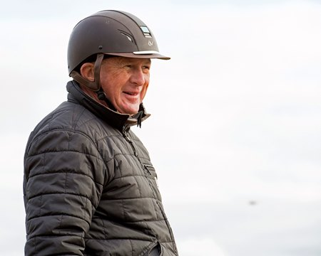 Trainer Brian Lynch on the track June 7 at Belmont Park