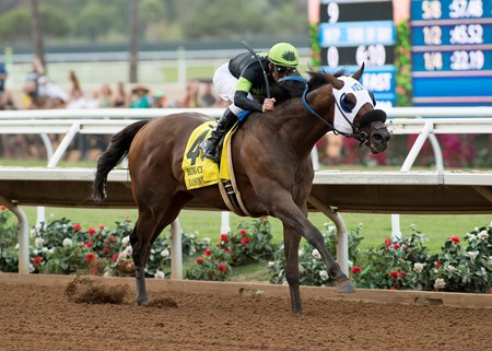 Ransom the Moon and jockey Flavien Prat win the Grade I, $300,000 Bing Crosby Stakes, Saturday, July 29, 2017 at Del Mar Thoroughbred Club, Del Mar CA.