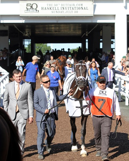 Girvin in the paddock prior to winning the 2017 Haskell Invitational (G1)