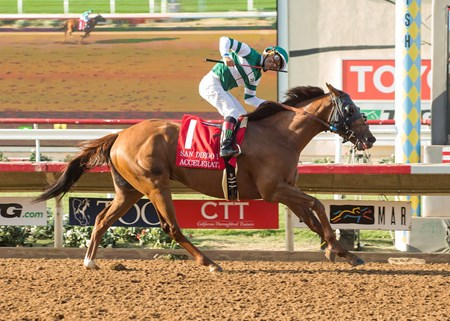Accelerate and jockey Victor Espinoza win the 2017 TVG San Diego Handicap