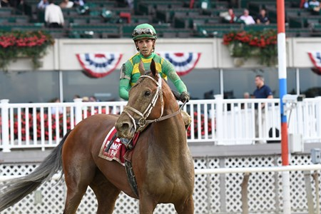 Keen Ice with Jose Ortiz Jr. wins the Suburban Stakes (G2) at Belmont Park on July 8, 2017. Bred by Glencrest Farm in Kentucky, raced by Donegal Racing, and trained by Todd Fletcher.July 8, 2017.