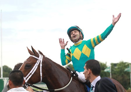 Jockey Joe Bravo reacts after winning the $300,000 Grade 1 United Nations aboard Bigger Picture at Monmouth Park in Oceanport, New Jersey on Saturday July 1, 2017.