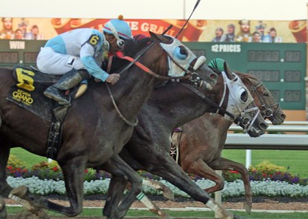 Eagle (inside) wins the Michael G. Schaefer Memorial Stakes