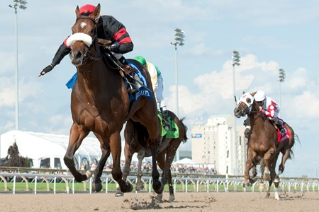 Jockey Luis Contreras guides Holy Helena to victory in the Queen's Plate Stakes