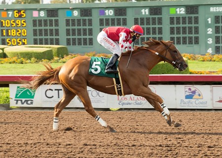 Skye Diamonds and jockey Tiago Pereira win the G2, $200,000 Great Lady M Stakes, Saturday, July 8, 2017 at Los Alamitos Race Course, Cypress CA.