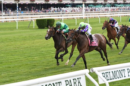 New Money Honey with Javier Castellano wins the Belmont Oaks (G1T) at Belmont Park on July 8, 2017.July 8, 2017.