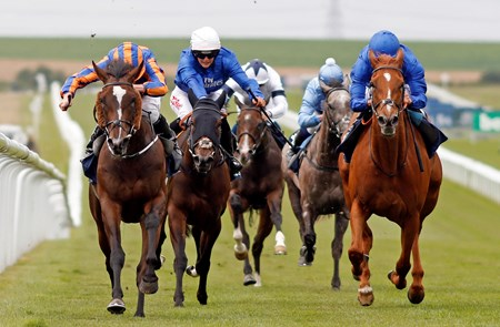 Roly Poly (left, Ryan Moore) beats Wuheida (right) in The Tattersalls Falmouth Stakes Newmarket 14 Jul 2017