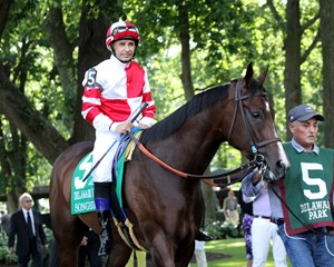 Songbird and Mike Smith before the Delaware Handicap