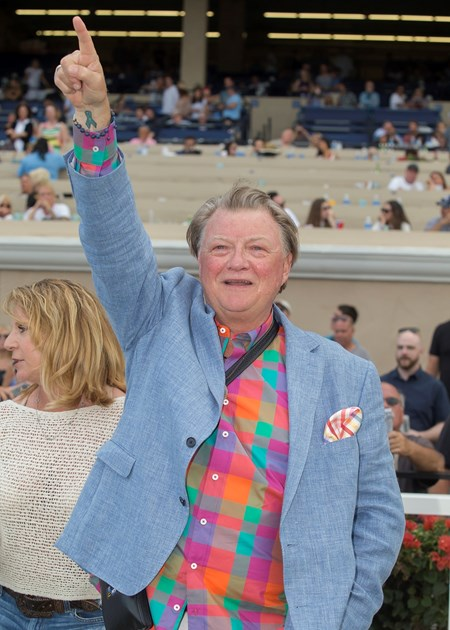 Co-owner Jeffry Wilke celebrates Ransom the Moon's victory in the Grade I, $300,000 Bing Crosby Stakes, Saturday, July 29, 2017 at Del Mar Thoroughbred Club, Del Mar CA.