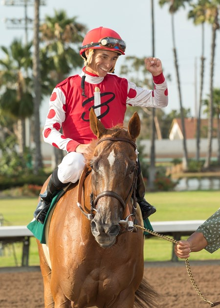 Jockey Tiago Pereira celebrates aboard Skye Diamonds after their victory in the Grade II, $200,000 Great Lady M Stakes, Saturday, July 8, 2017 at Los Alamitos Race Course, Cypress CA.