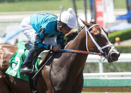 Rockingham Ranch's Surrender Now and jockey Norberto Arroyo, Jr. win the 2017 Landaluce Stakes, Sunday, July 2, 2017 at Santa Anita Park, Arcadia CA.