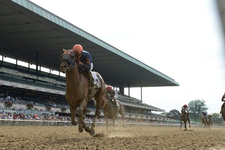Mind Your Biscuits with Joel Rosario wins the Belmont Sprint Championship (G2) at Belmont Park on July 8, 2017.July 8, 2017.