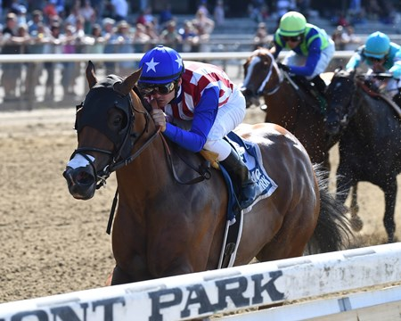 American Gal with Flavien Prat wins Victory Ride (G3) at Belmont Park on July 9, 2017.July 9, 2017 in Elmont, New York.