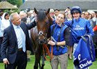 Trainer Clive Cox (left) and jockey Adam Kirby (right) with Harry Angel after his July Cup victory