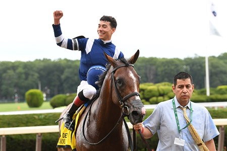 Oscar Performance with Jose Ortiz Jr. wins the Belmont Derby (G1T)  at Belmont Park on July 8, 2017.July 8, 2017.