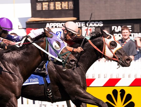 Ben's Cat with Julien Pimentel up, holds off Bold Thunder to win the 10th Running of the Jim McKay Stakes at Pimlico on May 15, 2015.