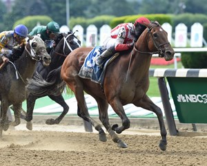 Practical Joke wins the July 8 Dwyer Stakes at Belmont Park