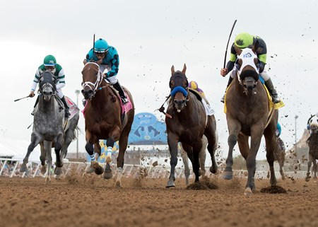 Ransom the Moon and jockey Flavien Prat, right, outleg Moe Candy (Victor Espinoza), left, and Roy H (Paco Lopez), second from left, to win the Grade I, $300,000 Bing Crosby Stakes, Saturday, July 29, 2017 at Del Mar Thoroughbred Club, Del Mar CA.  Drefong, left, who lost rider Mike Smith following the start.
