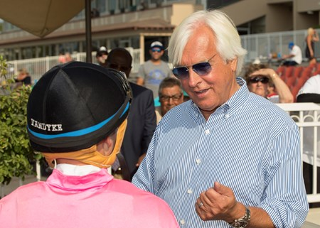 Trainer Bob Baffert, right, celebrates with jockey Drayden Van Dyke, left, after West Coast's victory in the G3, $200,000 Los Alamitos Derby, Saturday, July 15, 2017 at Los Alamitos Race Course, Cypress Ca.