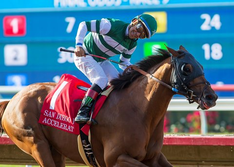 Accelerate finishes 15 1/4 lengths ahead of Arrogate in the San Diego Handicap