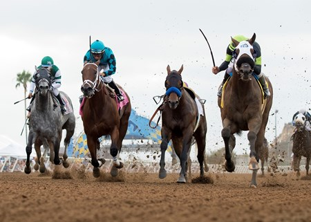 Ransom the Moon and jockey Flavien Prat, right, outleg Moe Candy (Victor Espinoza), left, and Roy H (Paco Lopez), second from left, to win the Grade I, $300,000 Bing Crosby Stakes, Saturday, July 29, 2017 at Del Mar Thoroughbred Club, Del Mar CA.  Drefong, second from right, lost rider Mike Smith following the start.