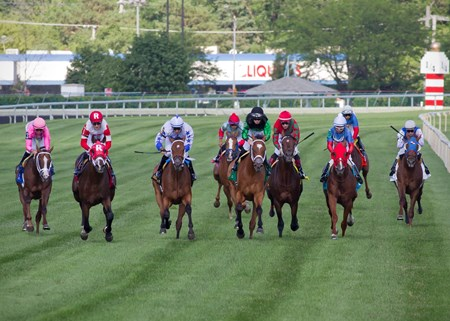 Keystoneforvictory winning The Stars and Stripes at Arlington International July 8th, jockey Julien Leparoux up