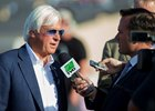 Bob Baffert is interviewed July 22 after Arrogate's fourth-place finish in the San Diego Handicap