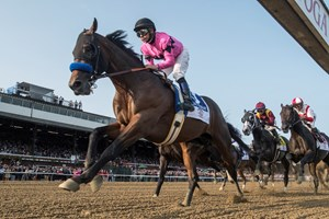 West Coast ridden by jockey Mike Smith lead wire to wire as he passes the clubhouse for the first time on the way to the win in the 148th running of The Travers Stakes at the Saratoga Race Course in Saratoga Springs, N.Y.