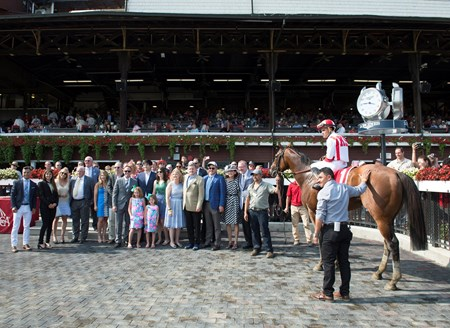 Practical Joke with Joel Rosario wins the H. Allen Jerkens at Saratoga racecourse in Saratoga Springs, N.Y. on Aug. 26, 2017