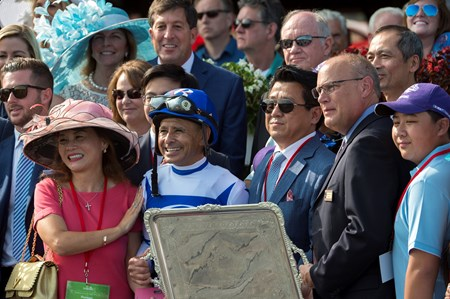 Drefong with Mike Smith wins the Forego at Saratoga racecourse in Saratoga Springs,